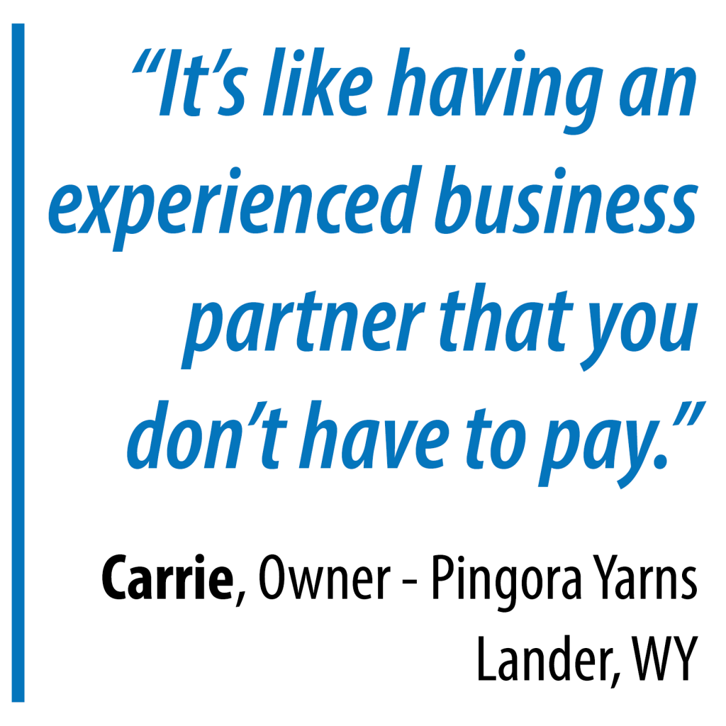 """It's like having an experienced business partner that you don't have to pay."" Carrie, Owner - Pingora Yarns, Lander, WY"