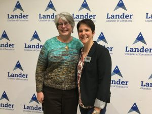 Carrie Johnson and Sarah Hamlin at the Lander Chamber of Commerce Awards.