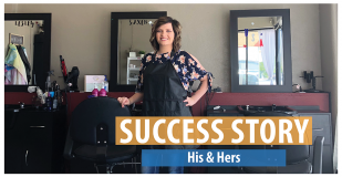 Success Story: His & Hers. Picture of Saxen Branham posing inside of her hair salon.
