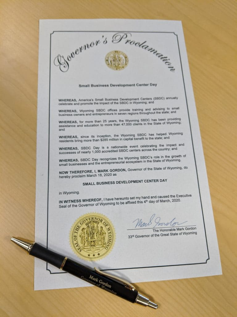 Picture of the 2020 SBDC Day Proclamation signed by Wyoming Gov. Mark Gordon.