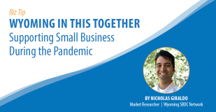 Biz Tip: Wyoming in this Together - Supporting Small Business During the Pandemic. By Nicholas Giraldo, Market Researcher, Wyoming SBDC Network