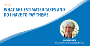 Biz Tip: What are estimated taxes and do I have to pay them? By Cindy Unger, Business Advisor, Wyoming SBDC Network
