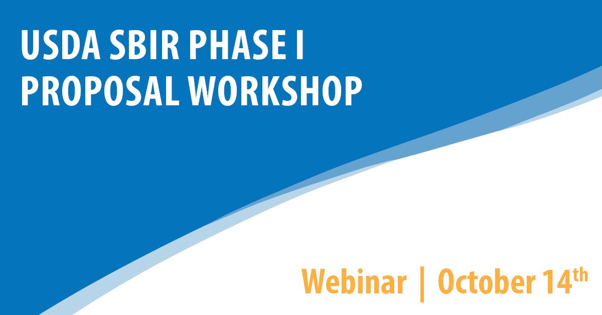 USDA SBIR Phase I Proposal Workshop